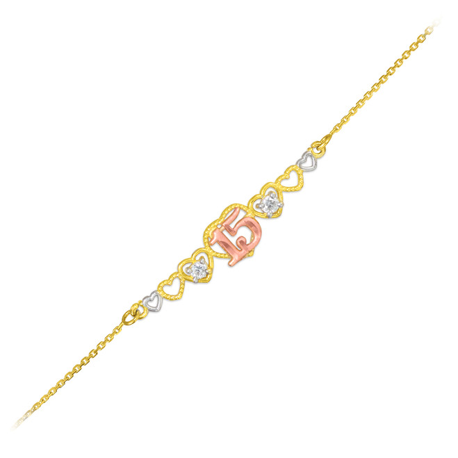 15-Anos Quinceanera 14k Tri-Tone Gold Hearts Bracelet