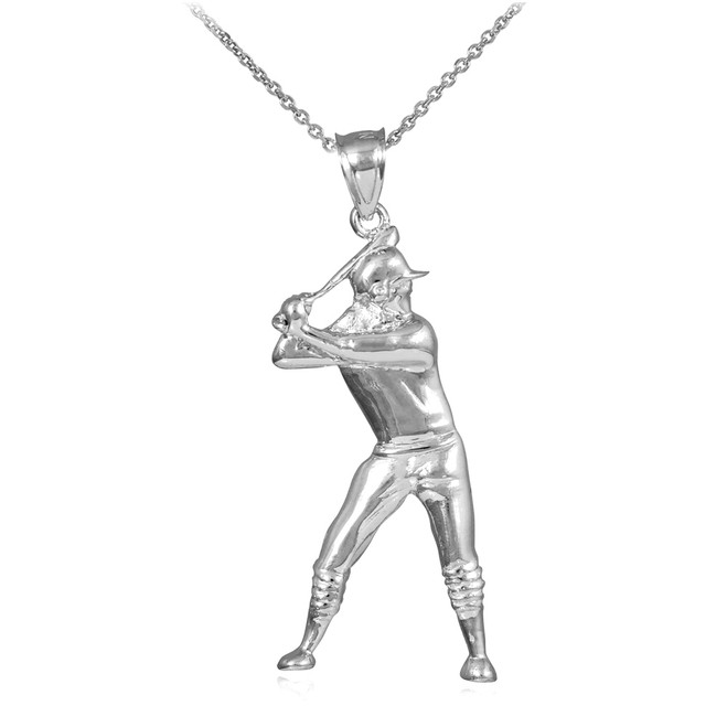 White Gold Baseball Batter Sports Charm Pendant Necklace