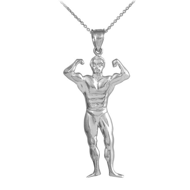 White Gold Bodybuilder Sports Charm Pendant Necklace