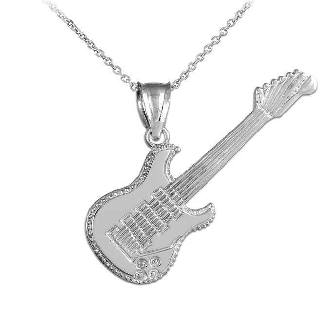 White Gold Electric Guitar Pendant Necklace
