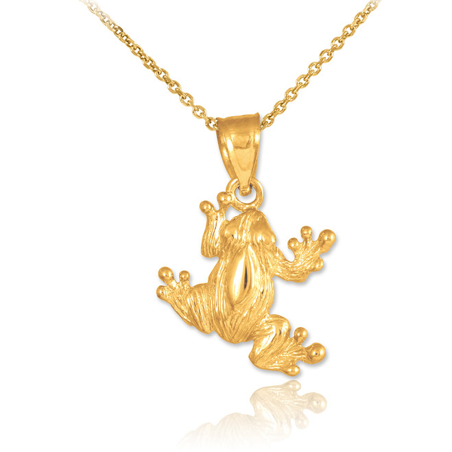 Gold Frog Charm Pendant Necklace