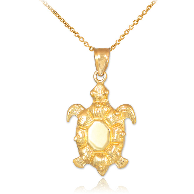 Gold Sea Turtle Pendant Necklace