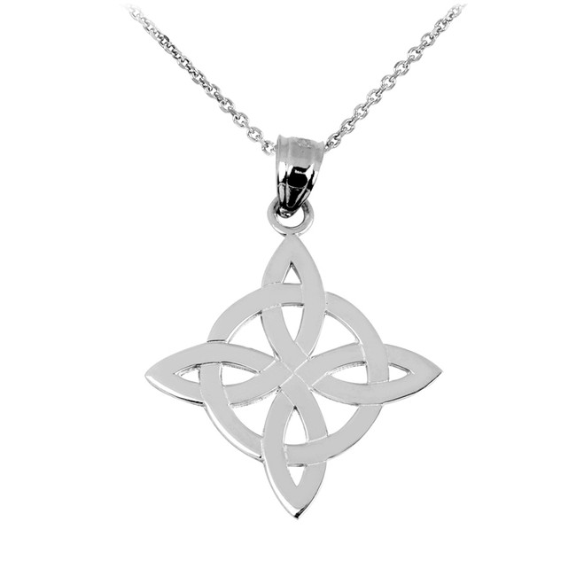White Gold Irish Celtic Trinity Pendant-Necklace