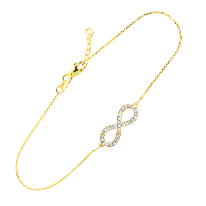 14K Gold Infinity Clear CZ Pendant Bracelet