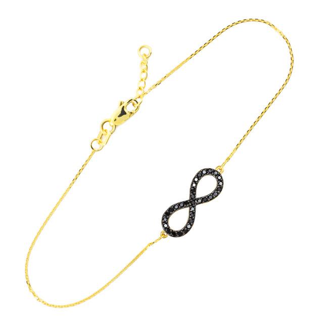 14K Gold Infinity Black CZ Pendant Bracelet