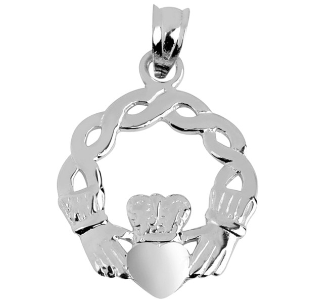 Classic White Gold Claddagh Pendant