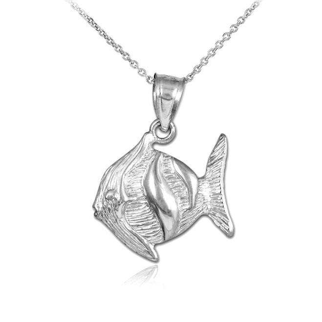 White Gold Clown Fish Pendant Necklace