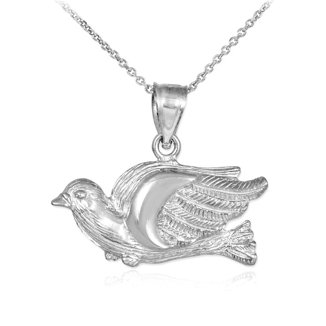White Gold Flying Dove Pendant Necklace