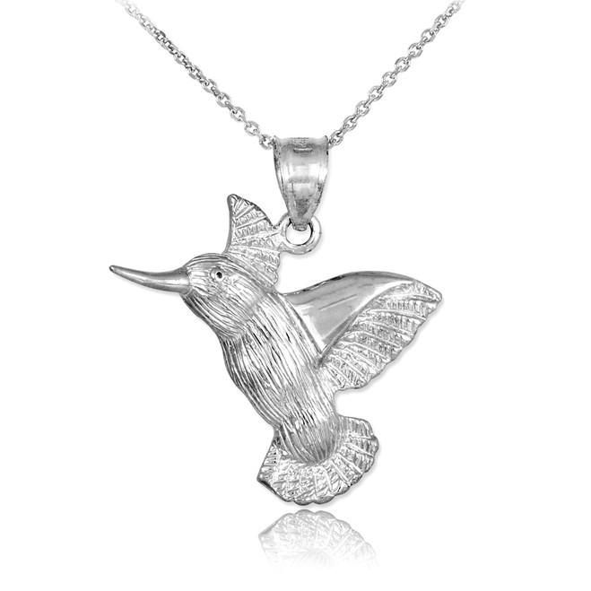 White Gold Hummingbird Pendant Necklace