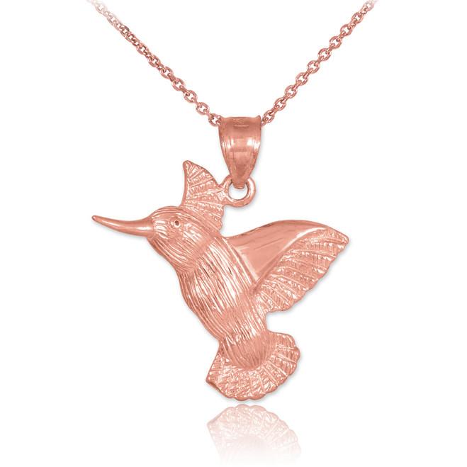Rose Gold Hummingbird Pendant Necklace