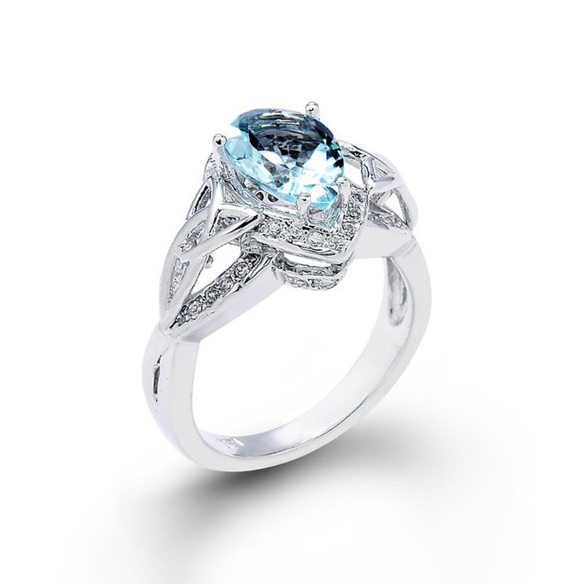 14K White Gold Pear Shaped Aquamarine and Diamond Engagement Ring