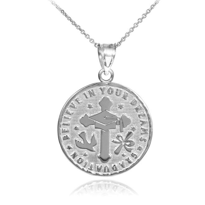 White Gold Reversible Graduation Medallion Charm Pendant Necklace