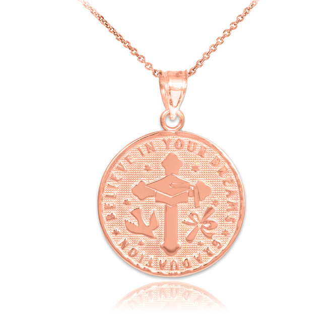 Rose Gold Reversible Graduation Medallion Charm Pendant Necklace