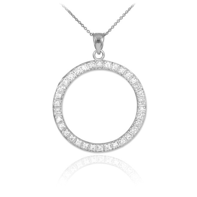 14K White Gold Eternity Circle of Life CZ Pendant Necklace