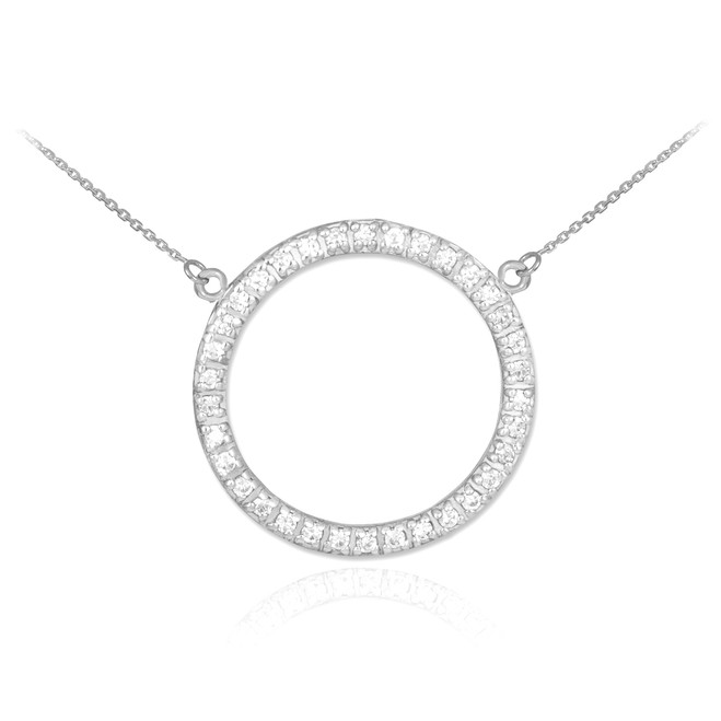 14K White Gold Eternity Circle of Life CZ Necklace