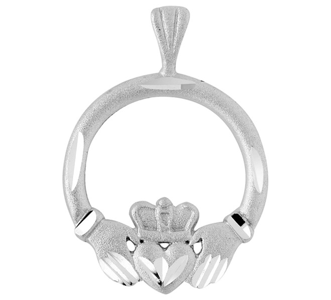White Gold Claddagh Pendant In Satin Finish