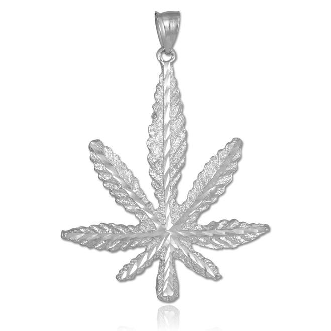 White Gold Marijuana Leaf Cannabis Pendant