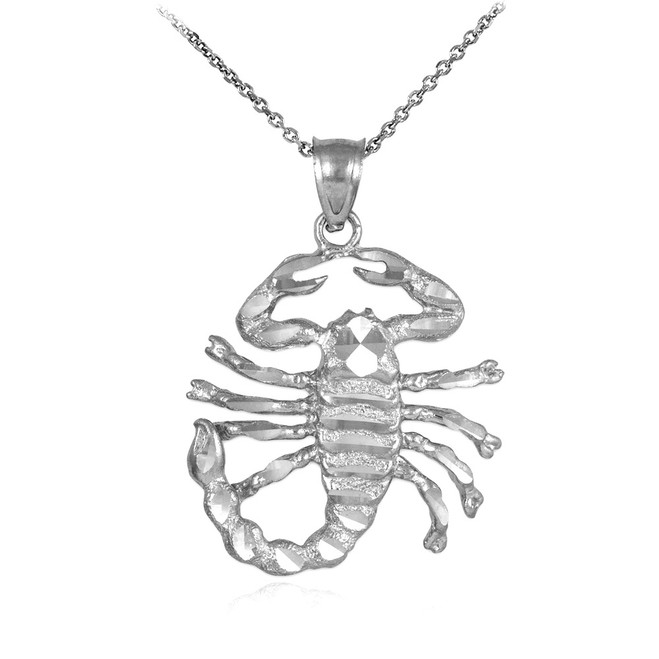 White Gold Scorpion Pendant Necklace