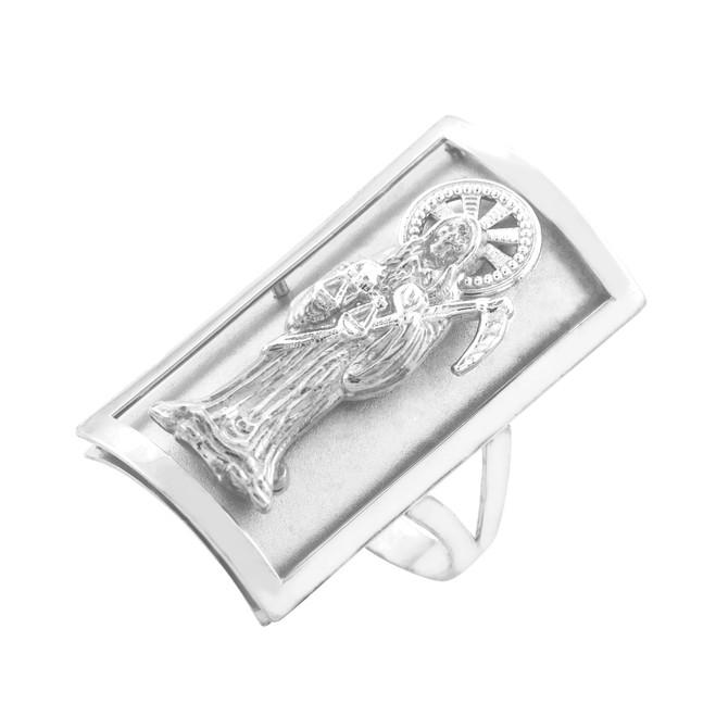 White Gold Santa Muerte Grim Reaper Fancy Ring 1.2 Inches