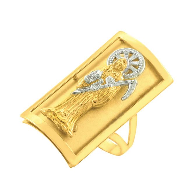 Two-tone Gold Santa Muerte Grim Reaper Fancy Ring 0.9 Inch