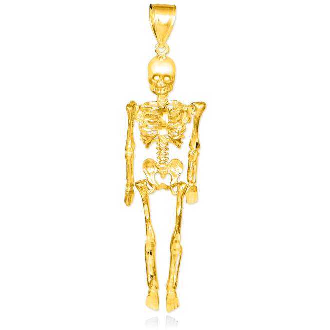 Diamond-Cut Gold 3D Skeleton Dangle Pendant