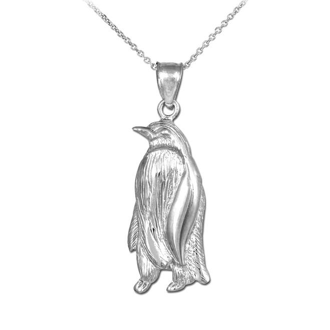 White Gold Penguin Pendant Necklace