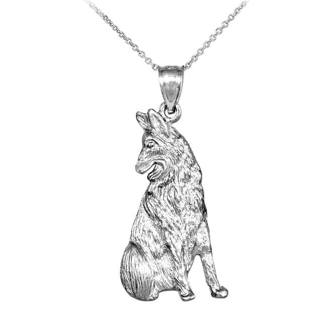 White Gold German Shepherd Dog Pendant Necklace