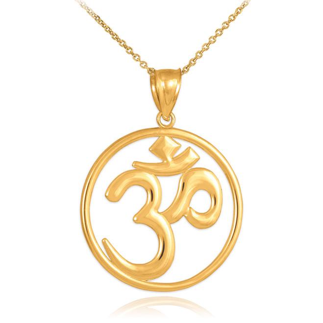 Gold Om (Ohm) Medallion Openwork Pendant Necklace
