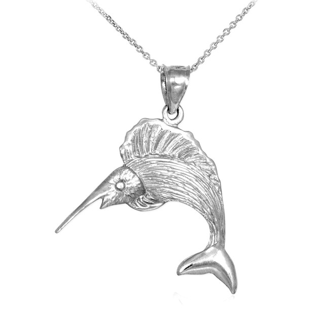 White Gold Sailfish Pendant Necklace