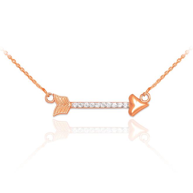 14k Rose Gold Diamond Studded Arrow Necklace