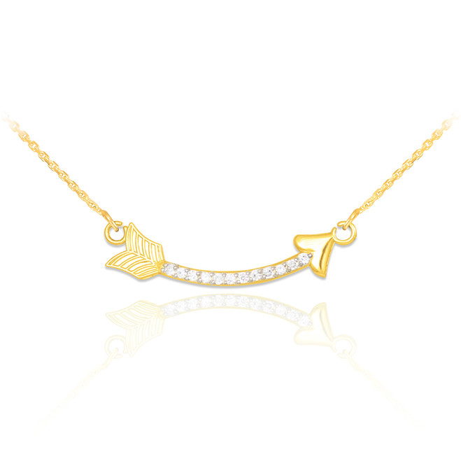 14k Gold Diamond Studded Curved Arrow Necklace