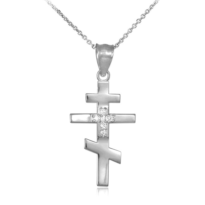 CZ Studded Silver Russian Orthodox Cross Pendant Necklace