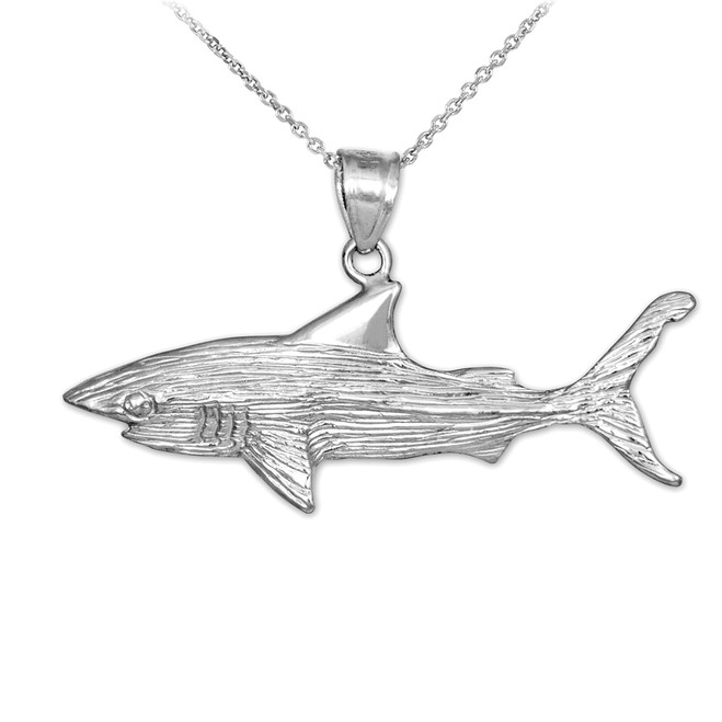White Gold Shark Textured Pendant Necklace