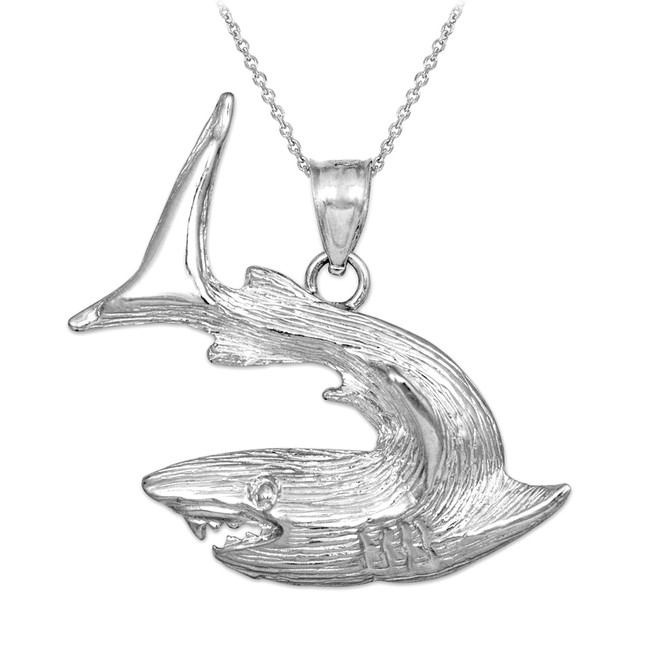 Sterling Silver Textured Shark Pendant Necklace