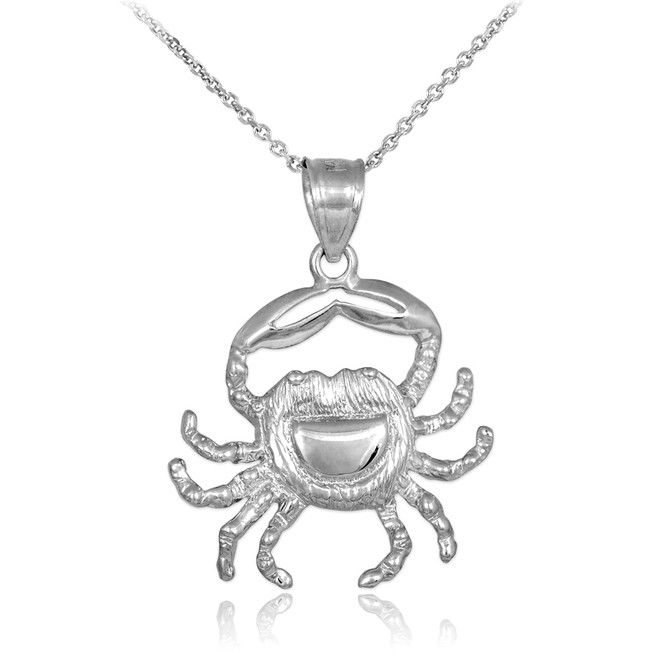 White Gold Crab Charm Pendant Necklace