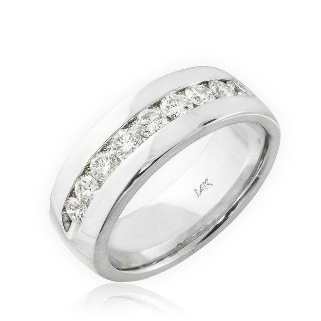 14K White Gold Women's Diamond Wedding Band 6mm