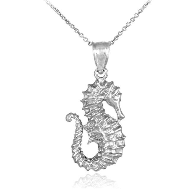 White Gold Seahorse Pendant Necklace