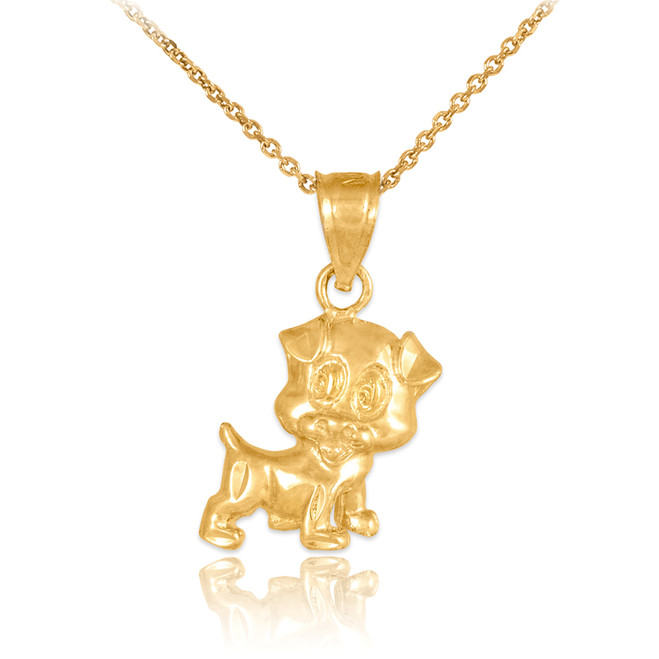 Gold Cute Puppy Charm Necklace
