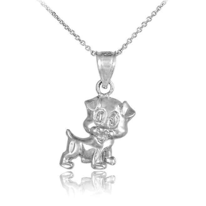 925 Sterling Silver Cute Puppy Charm Necklace