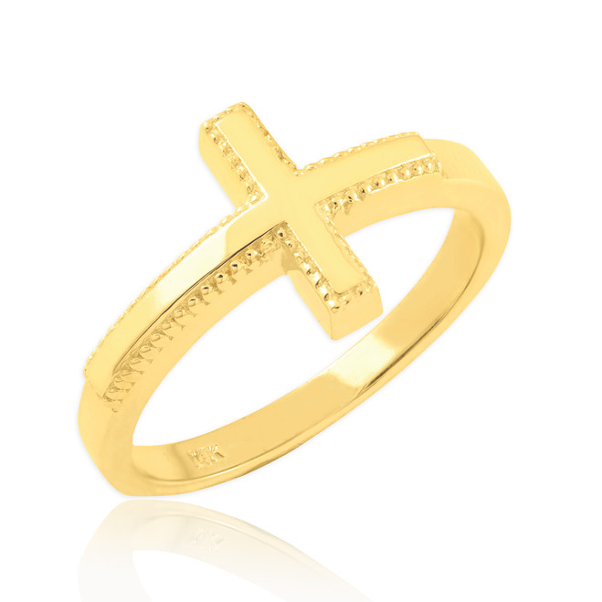 Solid Gold Sideways Cross Ring
