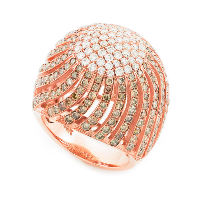 18K Rose Gold Diamond Pave Cocktail Ring