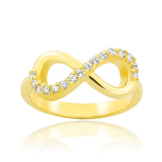 Solid Gold Clear CZ Infinity Ring