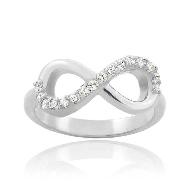 Solid White Gold Clear CZ Infinity Ring