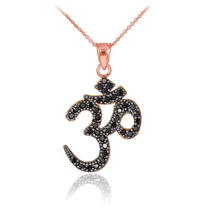 14k Rose Gold Om Black Diamond Pendant Necklace