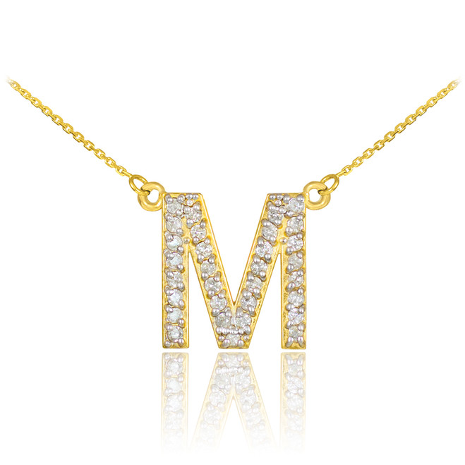 "14k Gold Letter ""M"" Diamond Initial Monogram Necklace"