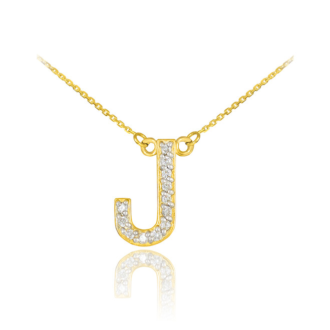 "14k Gold Letter ""J"" Diamond Initial Necklace"