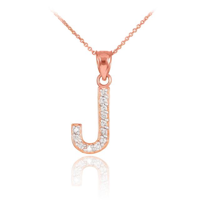 "Rose Gold Letter ""J"" Diamond Initial Pendant Necklace"