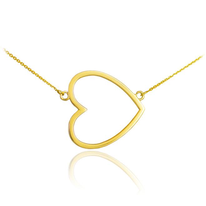 14K Gold Sideways Open Heart Necklace
