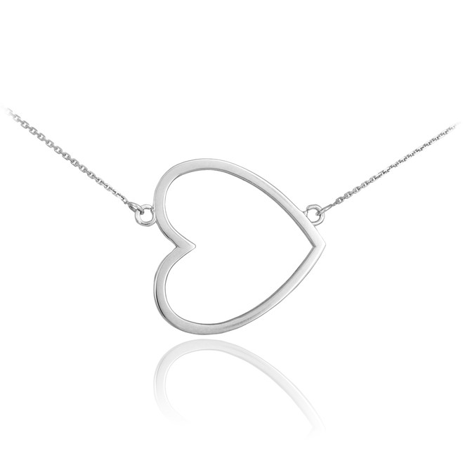 14K White Gold Sideways Open Heart Necklace