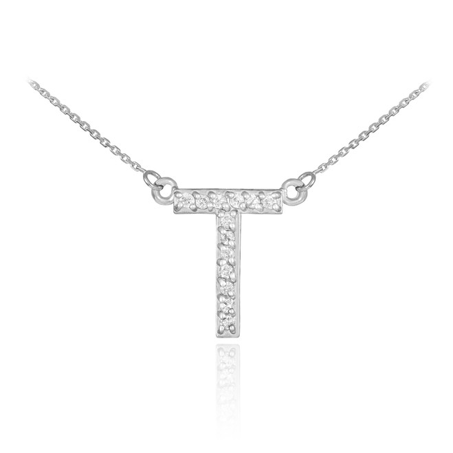 """14k White Gold Letter """"T"""" Diamond Initial Necklace"""